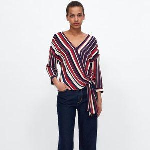 NWT Zara Striped Draped Top